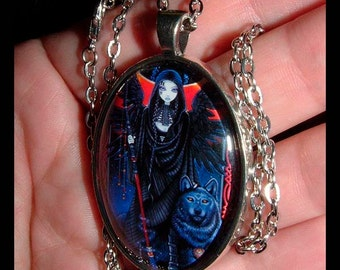 Rayvnwolf Gothic Angel Wolf Guardian Eclipse Silver Glass Cameo Necklace Myka Jelina Art
