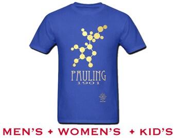 Chemistry Shirt. Linus Pauling Rock Star Scientist Tshirt, Science Gift.  Chemistry Teacher Present. Geek Gift. Science Art Illustration