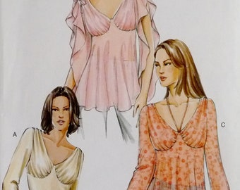 Plus Size Top Shirred Shoulder and Bust, Bell, Angel or Split Sleeve, Vogue 7999 Sewing Pattern Miss Size 18 20 22 UNCUT