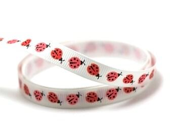 "3 m bias ""Ladybug"" 10 mm, red on white grosgrain"