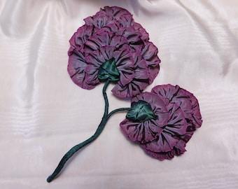Ribbon Flower Stem Applique Ombre Ribbonwork