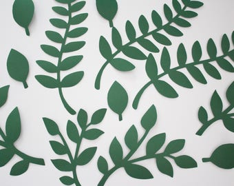Green Paper Leaves,Jungle Party, Scrapbooking Decor, Wedding Album, Birthday Backdrop, Paper Flower Wall, Greenery Backdrop, Tropical