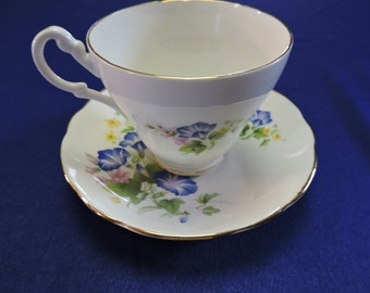 Royal Ascot Fine Bone China Morning Glory Teacup and Saucer -1960's/70's
