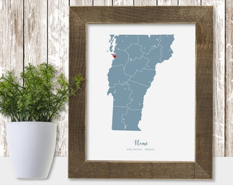 New Home Gift Housewarming Sign House Warming First Home Personalized Present Unique Rustic Home Decor Modern Art Map State State County