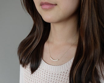 Audrey (Cream) - simple & sparkly beaded bar necklace