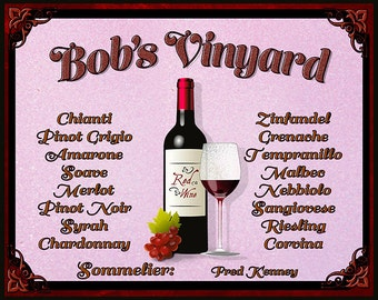 Wine Cellar, Vinyard Print For the Wine Connoisseur Personalized with name of the Sommelier. Various Sizes and fast and Free Shipping