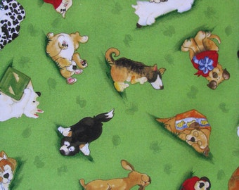 Dog Print Fabric, Puppy Dreams, Multi Dog Print Cotton Fabric, Green Dog Fabric, South Sea Imports, OOP, Fabric by the Yard, 1 yard