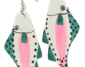 White Green Pink Trout Fish Pierced Earrings Hand Painted Wood Vintage 1980s