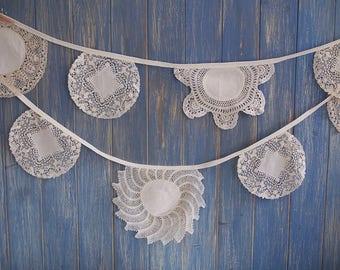 Vintage Doily Bunting. Wedding Bunting // Doily Bunting // Wedding Decor // Vintage Bunting // Wedding Garland // Vintage Tea Party Decor
