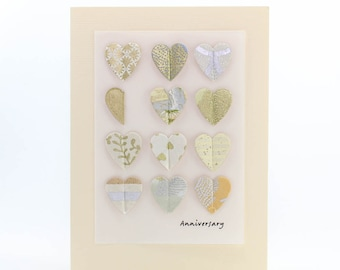 """Handmade Greeting Card - """"Anniversary"""" Pop-up Hearts from Fine Art Papers"""