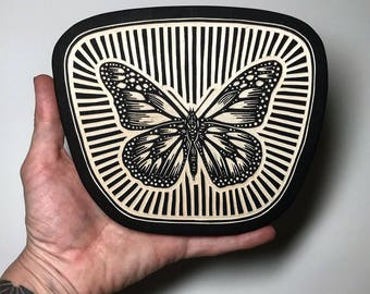 Hand Carved Monarch Butterfly Woodcut Wall Art
