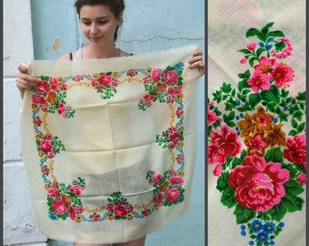 White floral scarf, folk boho shawl, rustic wedding wrap, womens gift, ukrainian folk gift, mother's day gift