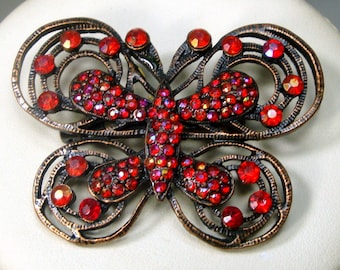 Red Rhinestone Butterfly Pin  1990s COPPERtone Brooch  with Red Glass Stones