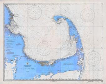 Cape Cod Map 1933 (Bright Blue)