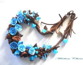 Rose earrings and necklace Light blue earrings Polymer clay earrings Polymer clay necklace Blue flower necklace Polymer clay flower earrings
