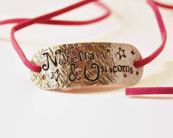 Nutella & Unicorns Aluminium And Faux Suede Wrap Bracelet - Hand Stamped Bracelet - Gift for Her - Jewellery - Personalised - Vegan