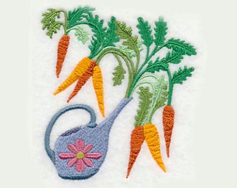 Carrots in Watering Can Tea Towel | Embroidered Towel | Personalized Kitchen Towel | Embroidered Kitchen Towel|Embroidered Tea Towel