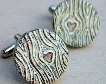 Groom Gift, Woodgrain Cufflinks, Faux Bois Cufflinks with Brown Heart, Woodland Wedding Accessories, Groom Accessories, Anniversary Gift
