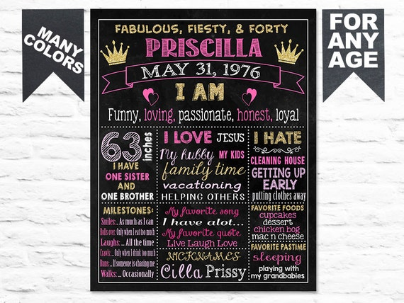 Printable Birthday Facts ~ Printable adult 40th birthday chalkboard sign 20th 30th 50th