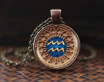 Aquarius Zodiac Necklace, Aquarius Pendant, Aquarius Zodiac Jewelry, Aquarius constellation, Astrology Necklace, m124