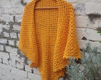 Goldfinch Crochet Triangle Shawl - Pure Cotton - Ready to Ship