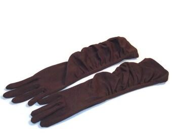 60s Gathered Gloves Three Quarter Length Gloves Ladies Gloves 1960s Brown Gloves Dark Brown Gloves Size 6.5 Gloves Brown 3/4 Length