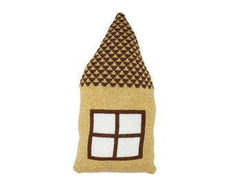 Little HOUSE shaped pillow - yellow and brown
