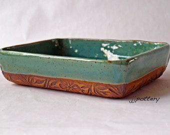 Ceramic Tray, Serving Dish, Handmade serving dish, Pottery Tray, Handmade Tableware, Pottery serving dish, small tray, green dish, Pottery