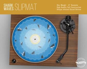 "Shark Waves Turntable Slipmat - 12"" LP Record Player DJ Pad - 16oz Felt w/ Glazed Bottom"