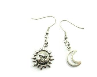 Sun And Moon Earrings Sun Jewelry Moon Jewelry  Sun and Moon Jewelry  Solar Earrings  GIfts For Her Gifts Under 10 Sun Face Earrings