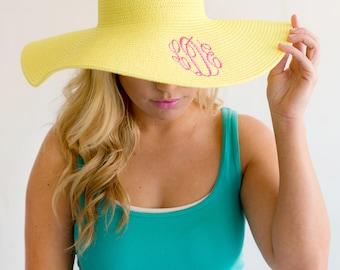 Floppy Hat, Monogrammed Floppy Hat, Embroidered Floppy Hat, Personalized Floppy Hat, Beach Hat, Monogrammed Beach Hat, Monogrammed Gift
