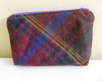 Zippered Pouch Brown MultiColor Plaid Alpaca Wool