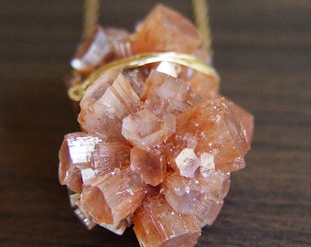 Peach Aragonite Gold Necklace