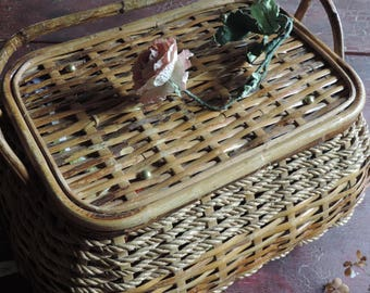 Vintage Picnic Basket Wicker Lined Market, Sewing Notions, Storage and Organization Basket, with Handles