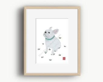 French Bulldog Art, White French Bulldog, French Bulldog Gift, Frenchie Lover