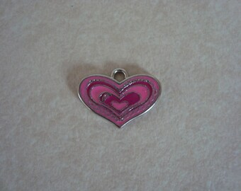 Pink heart charm in silver