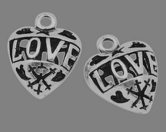 10 charms silver heart love 19 mm long