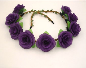 Purple Flower Crown,Purple Rose Headband,Purple Rose Crown,Purple flower Headband,Floral Crown,Girls,Women,Adult,Rose Halo,Rose Hair Wreath