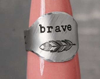 Brave Ring, Feather Ring, Boho Ring, Pewter Ring, Feather Brave Ring, Large Ring,  Hand Stamped Ring, Boho Jewelry, Boho Chic Statement Ring