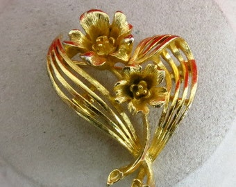 Vintage Floral Signed Lisner Pin