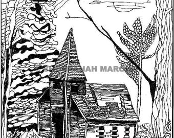 Abandoned Church Pen and Ink Drawing Coloring Page PDF from Coloring Inside the Dreams