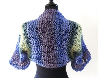 Light Lilac Purple Lavender Violet Green Yellow Color Knitted Lacy Summer Shoulder Shrug Bolero Sleeves