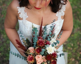 Peach and Burgundy Boho Wedding Bouquet | The Mimi Fran Wedding Flower Collection