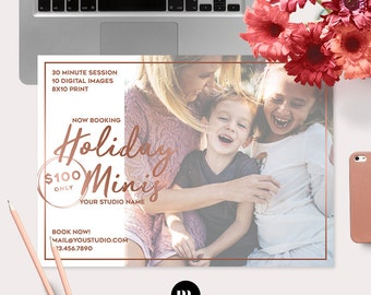 Holiday Mini Session Photoshop Template for Photographer - Photography Marketing Material - INSTANT DOWNLOAD - MS039