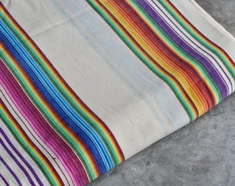 Mexican Fabric (#20) - Handwoven 100% Cotton - Rainbow Fabric sold by the Yard
