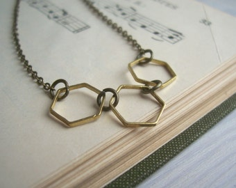 Golden Hexagon necklace - honeycomb row - geometric jewellery - minimalist