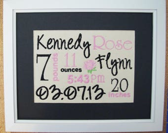 Date of Birth Art - Rose Nursery Decor - Canvas Birth Stats - Embroidered Birth Announcement - Rose Baby Art - 8X10 - Pink Black Nursery