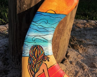 Surf Decor Painted Surfboard Fin Hand Carved Wood Surfer Girl Beach Scene