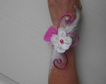 Bracelet for bride or witness - white and fuchsia with delphinium flower