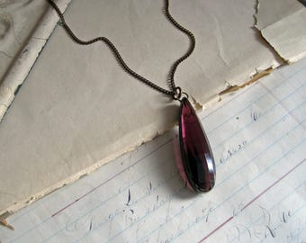 Amethyst Glass Faceted Teardrop Necklace Stained Glass Jewelry